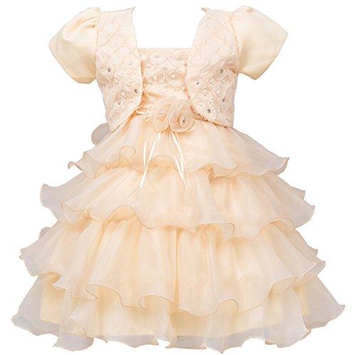Das beste Kinder Kleid Prinzessin Baby Mädchen Organza rock Blume Pailletten Geburtstag Hochzeit Kurzarm Mantel viel (High Kleinkind Monster Kostüme)