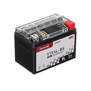 Accurat Motorradbatterie YB4L-B 4Ah 50A 12V Gel Technologie + LCD Display Roller Starterbatterie in Erstausrüsterqualität vorgeladen wartungsfrei