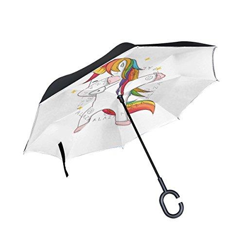 ISAOA Paraguas grande invertido resistente al viento, doble capa de construcción, paraguas reversible plegable, para coche, lluvia, uso al aire libre, mango en forma de C, paraguas de unicornio de pie