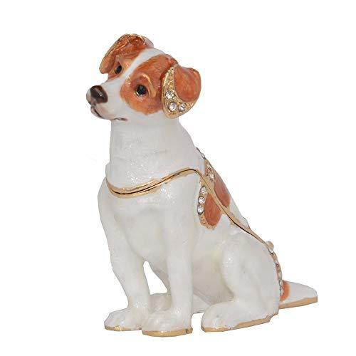WanTo Jack Russell Terrier Hunde Bejeweled Schmuckstück Schmuckschatulle Miniatur Hunde Ring Halter Geschenke für Haustier Liebhaber Hund Dekoration -