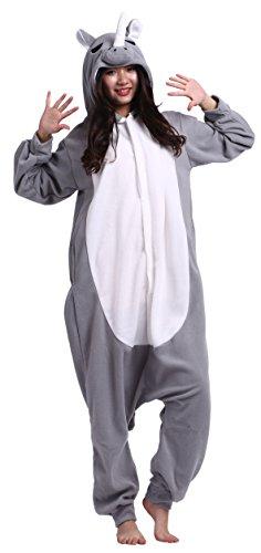 CuteOn Unisex Erwachsene Cartoon Tier Kigurumi Pyjamas Nachtwäsche Mit Kapuze Cosplay Kostüm Grau Nashorn XL for Höhe 178-187CM