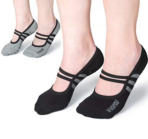 WithYou® Yoga Socken - Yoga Pilates Piloxing Stoppersocken rutschfeste/Antirutsch Noppensocken Premium-Qualität Damen (37-41, Schwarz/Grau)