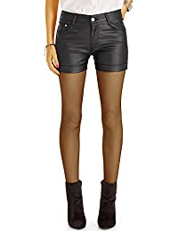 Bestyledberlin Damen High Waist Hotpants Leder Style, Kunstleder Shorts, Kurze Hosen j57f