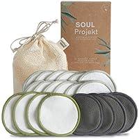 Soul Projekt x 20 Almohadillas desmaquillantes reutilizables, Almohadillas faciales orgánicas ecológicas de algodón de bambú, Bolsa de lavandería de algodón