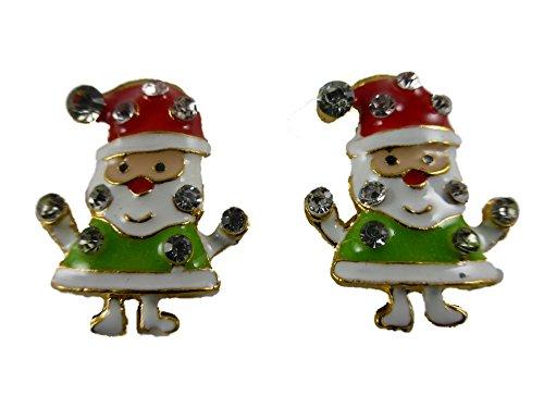 4745 Grün (Ohrringe Ohrstecker Stecker Weihnachten Weihnachtsmann Straß Heilig Abend grün 4745)