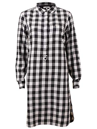 Lee Damen Tunica Slim Check, Größe:L, Farbe:Black (01) - Lee Langarm Kleid Shirt