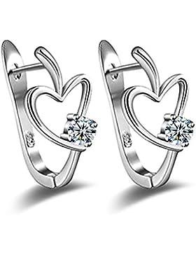 Wiftly Creole Damen Mädchen 925 Sterling Silber U-Forme Herz Zirkonia ohrringe als Paare Geschenk
