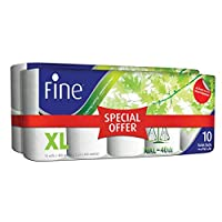 ‏‪FINE Extra Long Toilet Tissue Rolls - Pack of 20 Rolls, 400 Sheets x 2 Ply‬‏