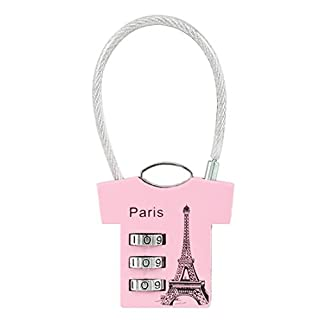 sourcingmap 3 Digit Combination Padlock, 3mm Wire Shackle, Zinc Alloy Luggage Lock, Pink