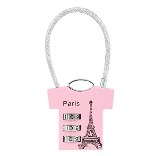 Zink Kombination (uxcell 3-stelliger Kombination Vorhängeschloss, 3mm Draht Bügel, Zink Legierung Gepäck Lock, a18032000ux0172, rose)