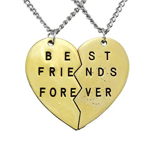 Hanessa Freundschafts-Halskette für Mädchen in Gold (2 Stück) Best Friends Forever Liebe Herz Damen-Schmuck - Neuen Mädchen, Kind 2 Stück