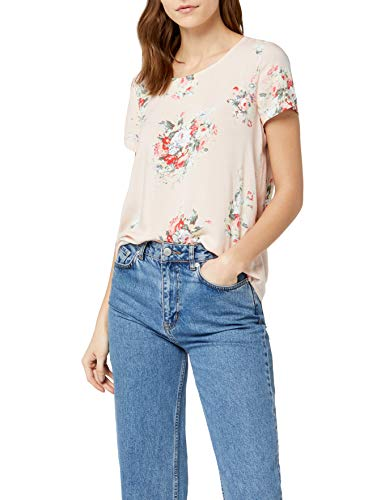 ONLY Damen Onlfirst Ss Mix Aop Top Noos Wvn Top, Mehrfarbig (Peach Whip Aop:Flowers), 40