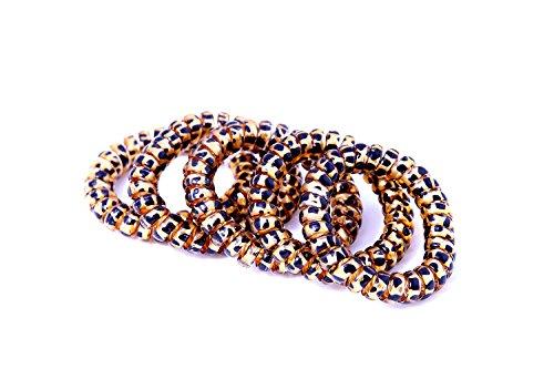 Attache-cheveux dans la couleur noire et or (plastique spirale), cordon téléphonique, élastique Accessoires cheveux (Lot de 5) de la marque MyBeautyworld24