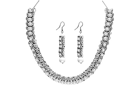 Sempre London 925 Silver Plated Crystal White Diamonds and Pearl