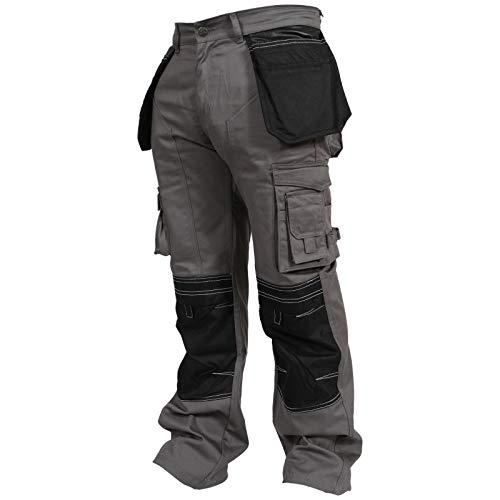 newfacelook Herren Arbeitshose Cargohose Hose Knie Taschen Sicherheits, Grau, 34W / 32L