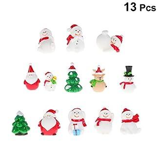 Amosfun 13 Piezas de Navidad Figura de muñeco de Nieve en Miniatura Papá Noel árbol de Navidad Alce Adornos de árbol de Navidad Colgante decoración Bricolaje Manualidades Regalos Año Nuevo Decoración