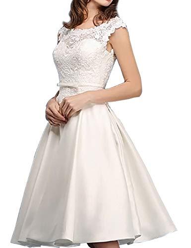 Kurze Brautkleider Vintage A-Linie Rückenfrei Spitze Satin Standesamtkleid Hochzeitskleid Wadenlang...