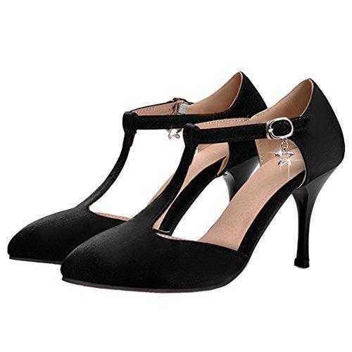 AIYOUMEI Damen T-spangen Satin Spitz Knöchelriemchen Pumps mit 9cm Absatz Modern Schuhe Schwarz
