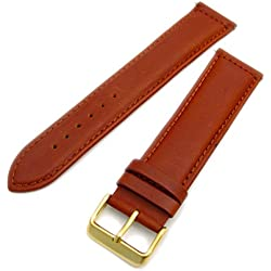 Sorrento Italian Padded Calf Leather XL Extra Long Watch Strap Band - Tan, 20mm with Gold Plated buckle