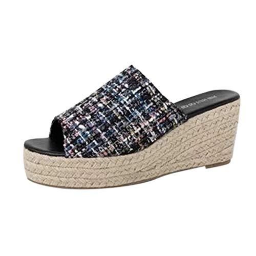 Damen Damen Mid High Keilabsatz Peep Toe Slip-on Pantoletten Plateau Sandalen Espadrille Flip Flops für Frauen Plus Größe