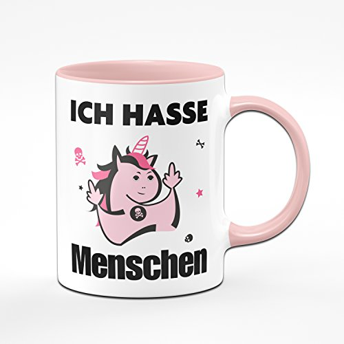 Ich Hasse Menschen Kaffeetasse mit Einhorn in Pink - Lustige Tasse