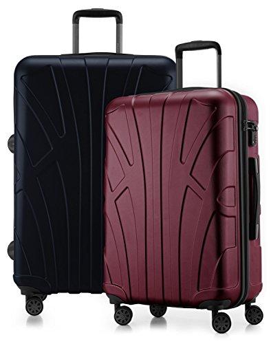 Suitline - 2er Koffer-Set Trolley-Set Rollkoffer Hartschalen-Koffer Reisekoffer, TSA, (66 cm, 76 cm), 100% ABS, Matt, Burgund / Dunkelblau