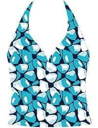 Landora ® turquoise/bleu/blanc gemusteter tankini dos-nu ®; certifié oeko-tex standard 100