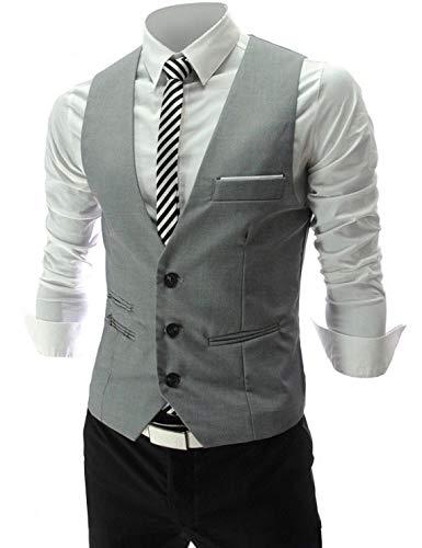 Cenizas Men's Waistcoat (MWCW004GRY40_Grey)