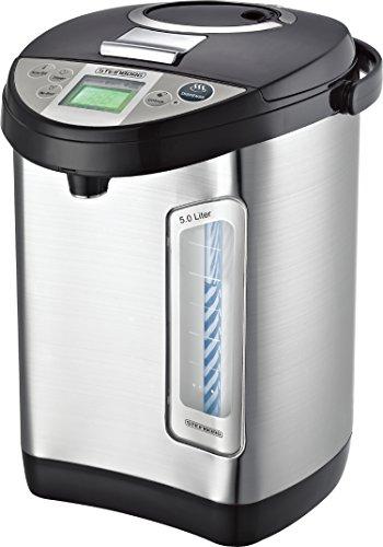 Thermopot 5 Liter | Edelstahl Heißwasserspender | 24 Stunden Timer | Wasserspender | Dispender | Thermoskanne | Teekocher | 3 Möglichkeiten der Wasserentnahme | 680 W. | LC-Display | Kindersicherung
