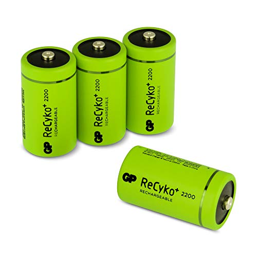 GP Akku Batterien C/Baby, NiMH Akkubatterien mit ReCyko+ LSD Technologie, Ready2Use, Akkus bereits vorgeladen, Typ Babyzelle HR14 wiederaufladbar, Kapazität 2200mAh, 1,2V (1,2 Volt) (4 Stück)
