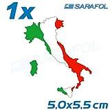 1x Italien Stiefel Aufkleber (Nr.032) AdesivoTricolore Italia Italy Sticker 5,0x5,5cm