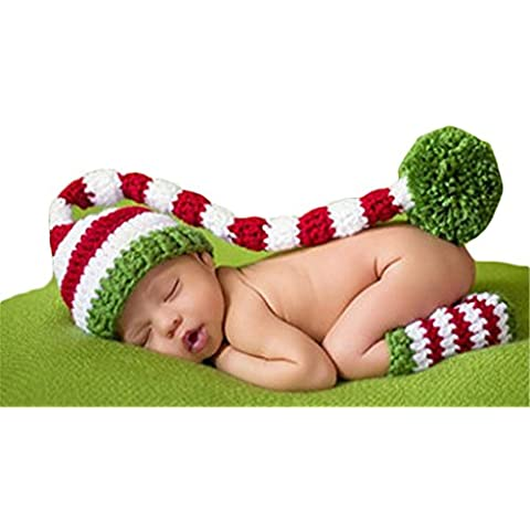 Recién nacido traje apoyo de la fotografía de Navidad conjunto de punto