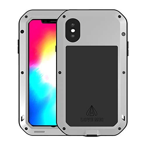 Simicoo iPhone XS Max Hybrid Aluminium Metall Bumper Stoßfest Militär Silikon Schraube Handyhülle Eingebautem Displayschutz staubdicht stoßen Heavy Duty Tough Armor Hülle für iPhone XS Max(Sliver)
