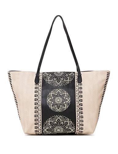 Desigual Bag Lady Capri Zipper Women - Borse a spalla Donna, Bianco (Crudo Beige), 13x28x30 cm (B x H T)
