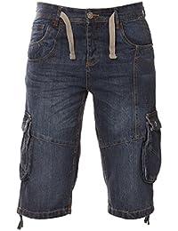 ad21f12053 Eto Men's Designer Dark Blue Stone Wash Combat Casual Denim Shorts Jeans