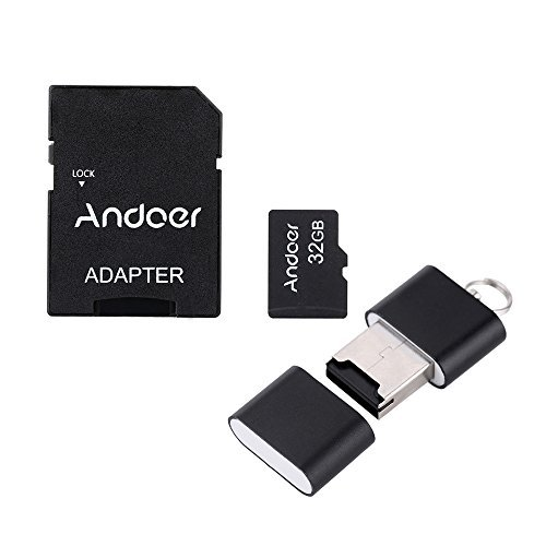 Andoer 32GB Class 10 Memory Card TF Card + Adapter + Card Reader USB Flash Drive with plastic box for Camera Car Camera Cell Phone Table PC GPS