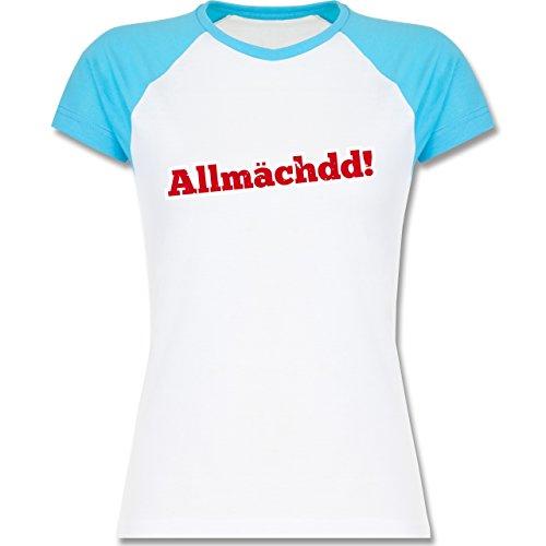 Franken Frauen - Allmächdd! - L195 Damen Baseball Shirt Weiß/Türkis