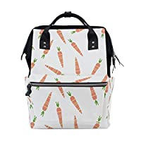 ALINLO Easter Orange Carrot Pattern Diaper Bags Mummy Tote Bags Large Capacity Multi-Function Backpack for Travel