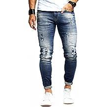 fa76cfc4f6 LEIF NELSON Herren Jeans Hose Slim Fit   Denim Blaue graue Lange Jeanshose  für Männer