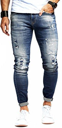LEIF NELSON Herren Jeans Hose Slim Fit | Denim Blaue graue Lange Jeanshose für Männer | Coole Jungen weiße Stretch Freizeithose Schwarze Cargo Chino Sommer Winter Basic | LN9960BL Blau W34/L32
