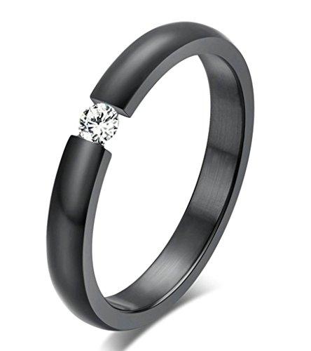 Sieben Für Alle Menschheit Größen (Daesar Frauen Verlobungsringe Edelstahl Ringe Schwarz Zirkonia Ringe Mit Geschenk-Box Größe 60 (19.1))