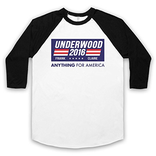 Inspiriert durch House Of Cards Underwood For President 2016 Inoffiziell 3/4 Hulse Retro Baseball T-Shirt Weis & Schwarz