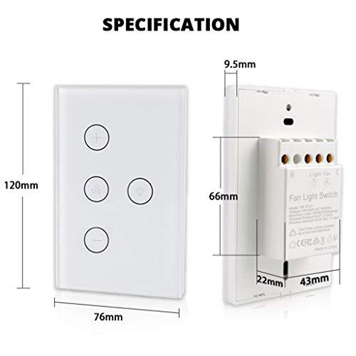 VBWER Lichtschalter WiFi-Lichtschalter für Deckenventilator US Wand