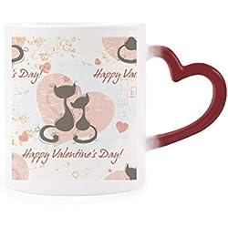 DIYthinker Morphing Día Negro Gatos de San Valentín Calor de la Taza Copa Sensible Corazón Rojo