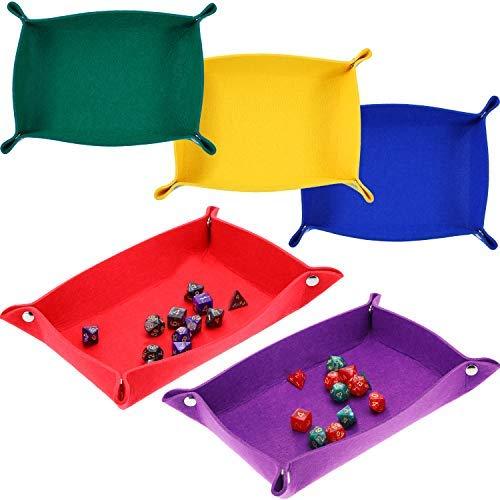 Zhanmai 5 Stücke Würfel Tablett Würfel Rollen Tablett Filz Falten Rechteck Würfel Halter für RPG DND Würfel Spiele Lagerung, 5 Farben (Lila Lagerung Würfel)