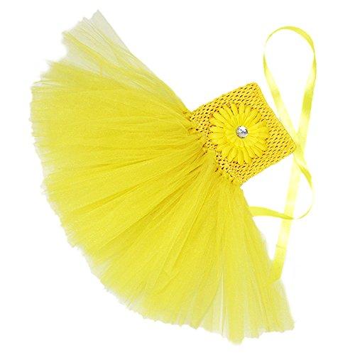 Honeystore Mädchen Spitze Prinzessin Rock Sommer Blumen Kleider für Baby Kleinkinder Kinder 0-2 Jahre alt Medium Gelb mit Chrysantheme