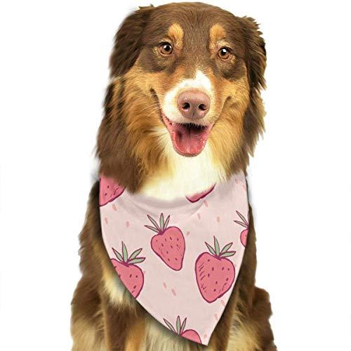 Rosa Rot Bunte Nette Lustige Erdbeer Mode Haustier Bandanas Hund Auto Halstuch Für Unisex Pet Junge ()