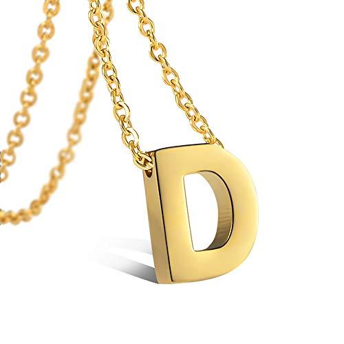 CheersLife Initiale Alphabet D Anhänger Edelstahl Halskette für Damen, vergoldet 18K, Halskette mit Buchstaben in Gold Initiale Kette 45+5CM