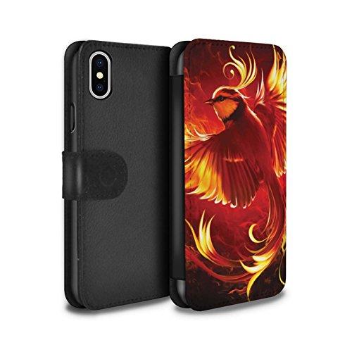 Officiel Elena Dudina Coque/Etui/Housse Cuir PU Case/Cover pour Apple iPhone X/10 / Beau Paon Design / Les Oiseaux Collection Oiseau de Feu/Enfer