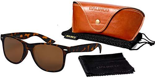 Balinco Hochwertige Polarisierte Nerd Rubber Sonnenbrille im Set (24 Modelle) Retro Vintage Unisex Brille mit Federscharnier (Leo-Brown)